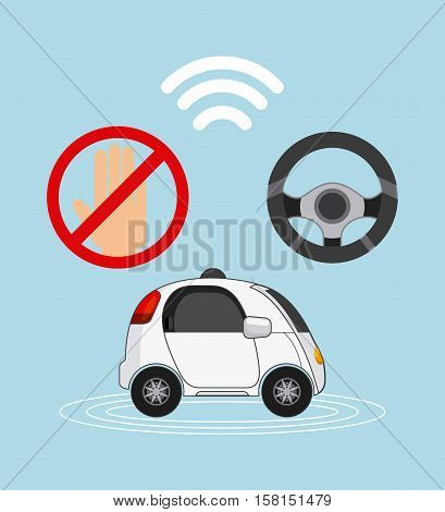 autonomous car vehicle with wireless and steering wheel icons over blue background. ecology,  smart and techonology concept. colorful design.  vector illustration