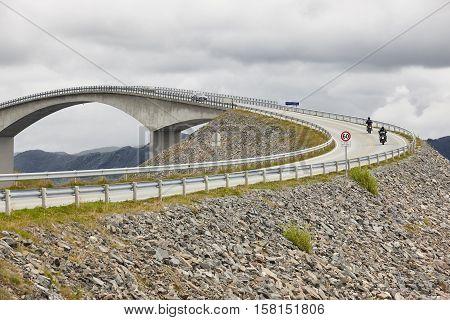 Norway. Atlantic ocean road. Bridge over the ocean. Travel europe. Horizontal