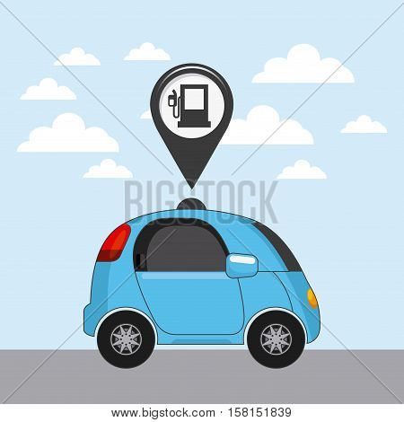 autonomous car vehicle and pin with gas pump icon inside. ecology,  smart and techonology concept. colorful design.  vector illustration