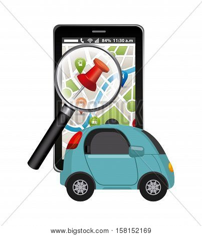 autonomous car vehicle and smartphone device with city map on screen. ecology,  smart and techonology concept. colorful design.  vector illustration