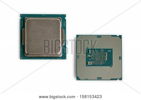 Computer CPU Processor Chips on a white background