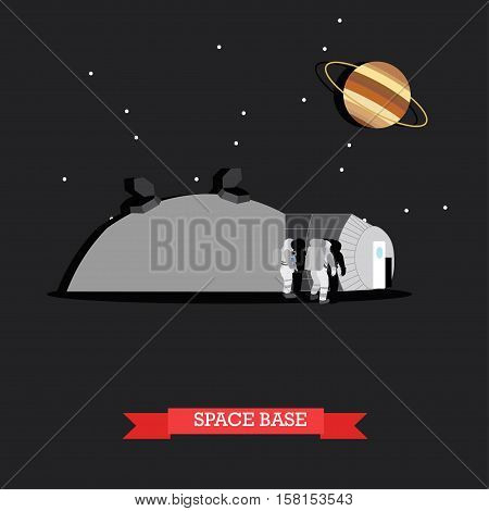 Vector illustration of space base and astronauts walking on surface of planet. Ringed planet Saturn. Space exploration concept design element in flat style.