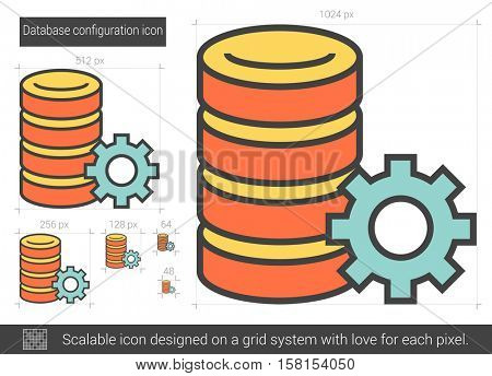Database configuration vector line icon isolated on white background. Database configuration line icon for infographic, website or app. Scalable icon designed on a grid system.