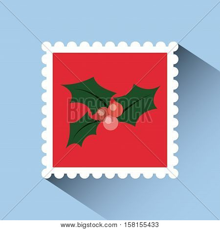 christmas post stamp with decorative holy berry icon over blue background. colorful design. vector illustration