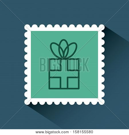 christmas post stamp with decorative gift box icon over blue background. colorful design. vector illustration