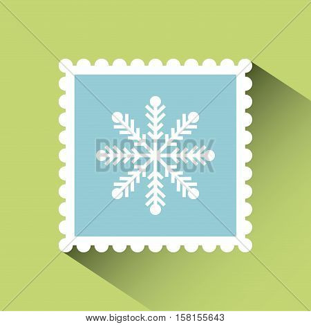 christmas post stamp with decorative snowflake icon over green background. colorful design. vector illustration