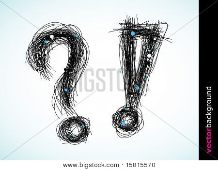 Question and exclamation mark created from lines and circles.