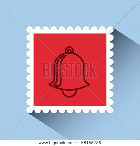christmas post stamp with decorative bell icon over blue background. colorful design. vector illustration