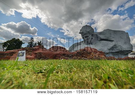 BREST, BELARUS - AUGUST 30, 2016: Monument to Russian soldiers. Brest Fortress the first to receive the blow during the attack of the German troops on the Soviet Union during World War II.