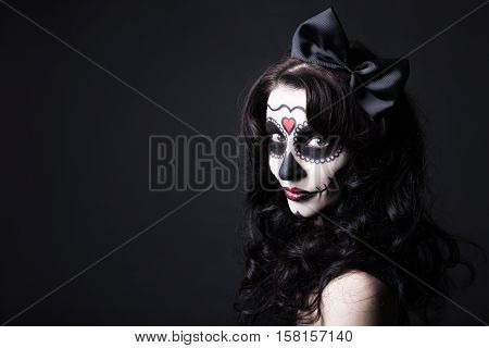 Creative Halloween Make Up - Portrait Of Witch Or Monster Woman Over Black