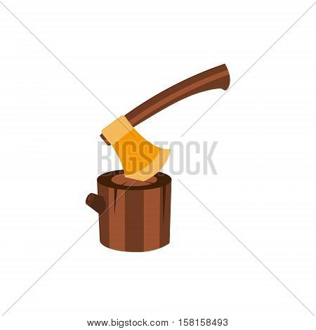 Lumberjack Axe Stuck In Block Of Wood, Camping And Hiking Outdoor Tourism Related Item Isolated Vector Illustration. Part Of Forest Touristic Adventures Objects Collection In Cute Flat Design.