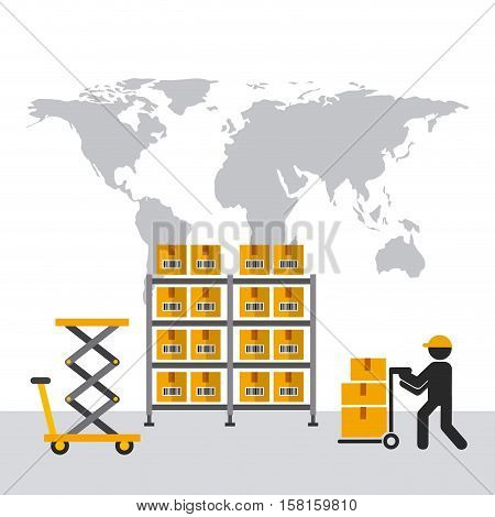 shelves with carton boxes and man with handcart over world map background. export and import concept. colorful design. vector illustration