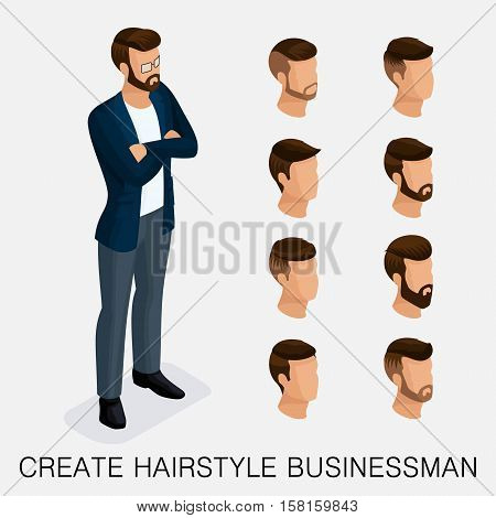 Trendy isometric set, qualitative study, a set of men's hairstyles, hipster style. Fashion Styling, beard, mustache. The style of today's young businessman. Vector illustration.