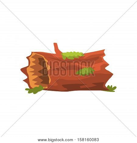 Moldering Swamp Log Isolated Element Of Forest Landscape Design For The Flash Game Landscaping Purposes. Video Game Details For The Woodland Level Vector Cartoon Illustration.