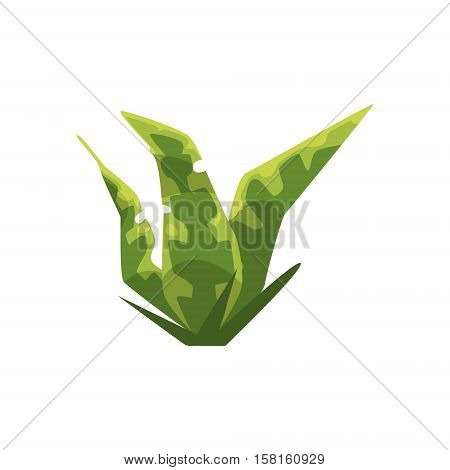 Long Stripy Leaf Plant Isolated Element Of Forest Landscape Design For The Flash Game Landscaping Purposes. Video Game Details For The Woodland Level Vector Cartoon Illustration.