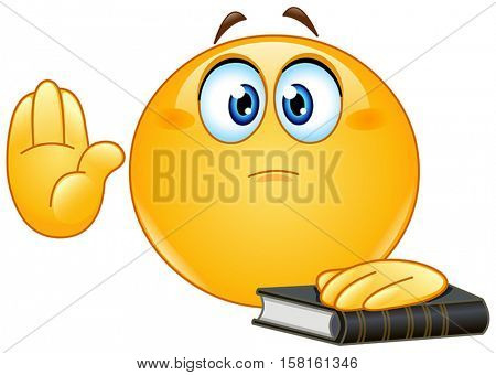Yellow ball taking oath or swearing. Raising his hand and put the other hand on a holy book.
