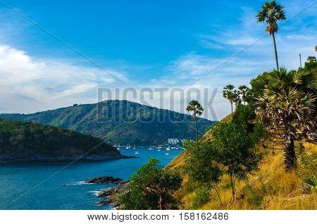 View of Yanui Beach and Koh Kaeo Noi on Phuket island Andaman Sea in South Thailand.