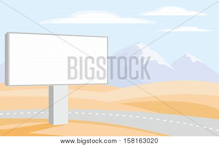 The image of the Billboard on the background of the desert and mountain peaks