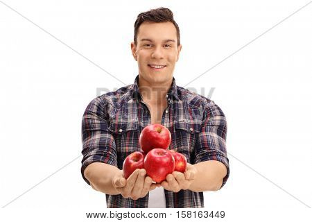 Agricultural worker offering apples isolated on white background