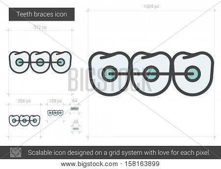Teeth braces vector line icon isolated on white background. Teeth braces line icon for infographic, website or app. Scalable icon designed on a grid system.