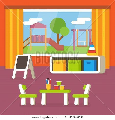 Kindergarten classroom, preschool room interior. Flat design vector illustration.