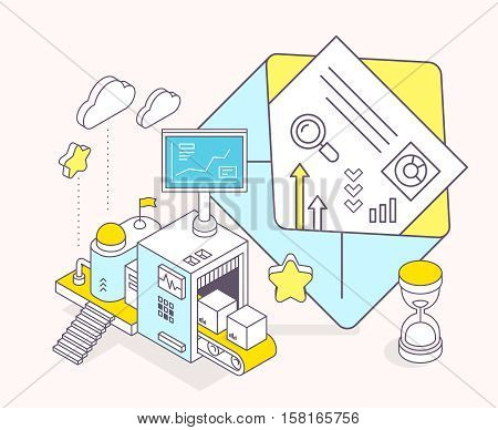 Vector Illustration Of Envelope And Three Dimensional Mechanism With Conveyor And Monitor On Light B