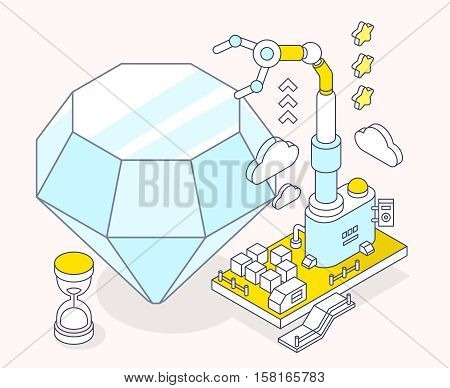 Vector illustration of blue diamond hourglass and three dimensional mechanism with robotic hand on light background. Professional polishing and faceting tools. 3d thin line art style design