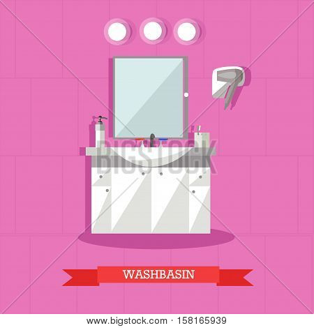 Vector illustration of washbasin and accessories in flat style. Bathroom interior design element.