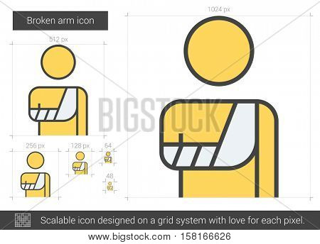 Broken arm vector line icon isolated on white background. Broken arm line icon for infographic, website or app. Scalable icon designed on a grid system.