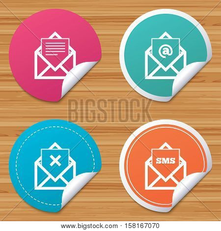Round stickers or website banners. Mail envelope icons. Message document symbols. Post office letter signs. Delete mail and SMS message. Circle badges with bended corner. Vector