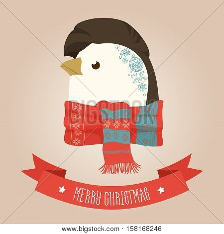 Christmas cute forest penguin head logo. Vector modern fashionable hipster penguin animal in clothes