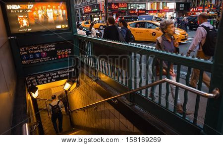 Entrance To Nyc Subway Station