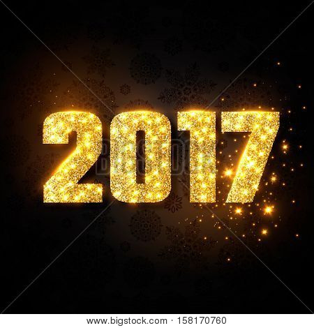 Gold numeric 2017. Christmas new year concept with glowing lights black background. Vector illustration.