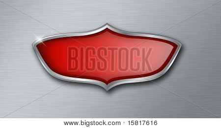 Empty shield on brushed metal background