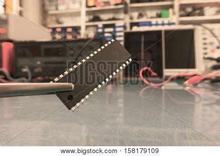 prototype of quantum processor. Toned Image