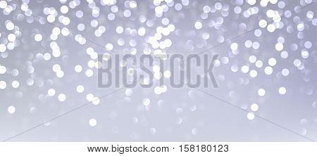 Festive silver luminous banner. Vector illustration.