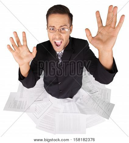 Portrait of a Screaming Businessman Drowning in Documents