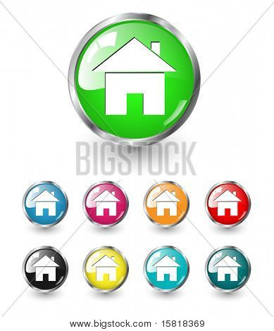 Home icon sign, multicolored vector set