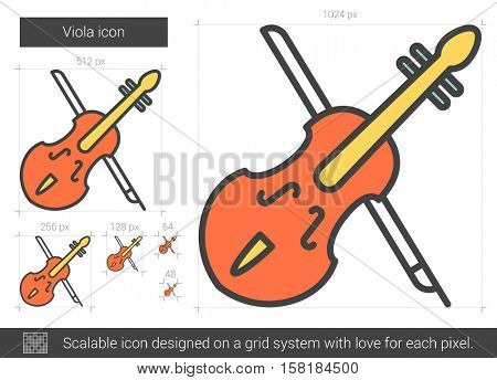 Viola vector line icon isolated on white background. Viola line icon for infographic, website or app. Scalable icon designed on a grid system.