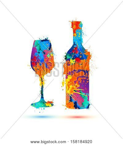 Wine glass and bottle. Vector splash paint