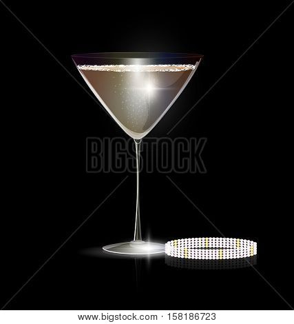 dark black background and the large glass of champagne or white wine with the jewel braselet