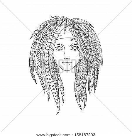 Young girl with patterned zentangle dreadlocks. Ornate hairstyle. Picture for coloring. Vector illustration.