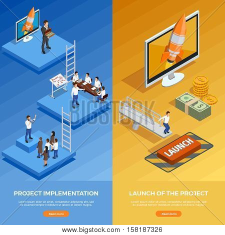 Business strategy isometric vertical banners with stages of planning and goal achievement vector illustration