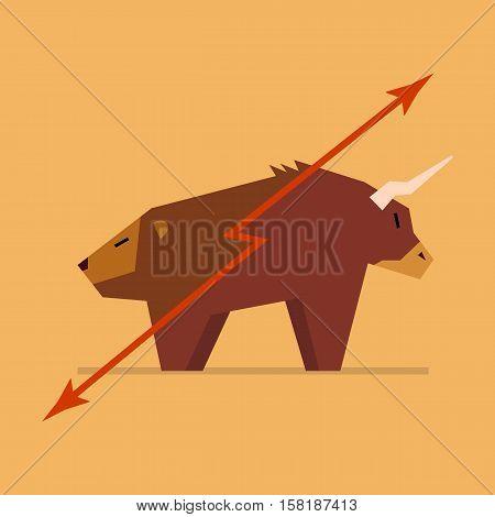 Bull and bear symbol of stock market. vector illustration