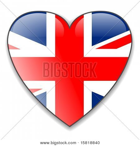 United Kingdom UK flag heart button, vector