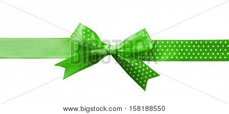 Festive ribbon bow with polka dot on white background