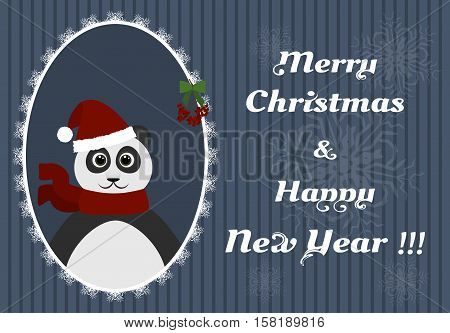 cartoon panda in a Christmas hat and scarf in openwork frame. New Year background