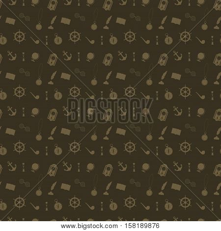 Seamless pattern with icons of things working cabinet on a dark brown background
