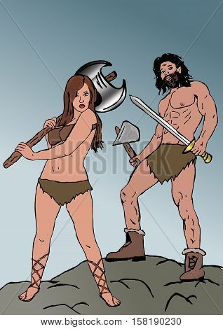 The barbarians. Image of primal warriors with sword