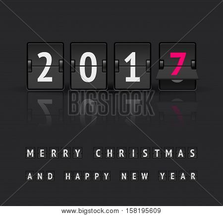 Digital countdown timer with 2017 numbers flips. New Year and Merry Christmas concept. Analog scoreboard flip calendar changes to another new year. Flip board clock at final state from 2016 to 2017
